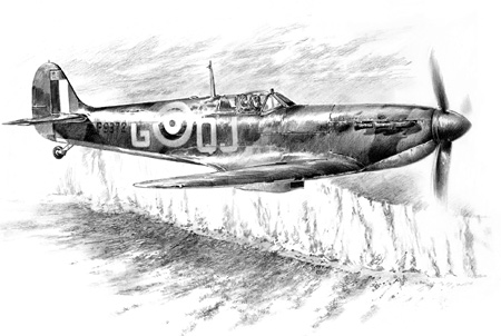 Artists impression of a 92 Squadron Spitfire approaching the white cliffs of Dover during the opening stages of the Battle.